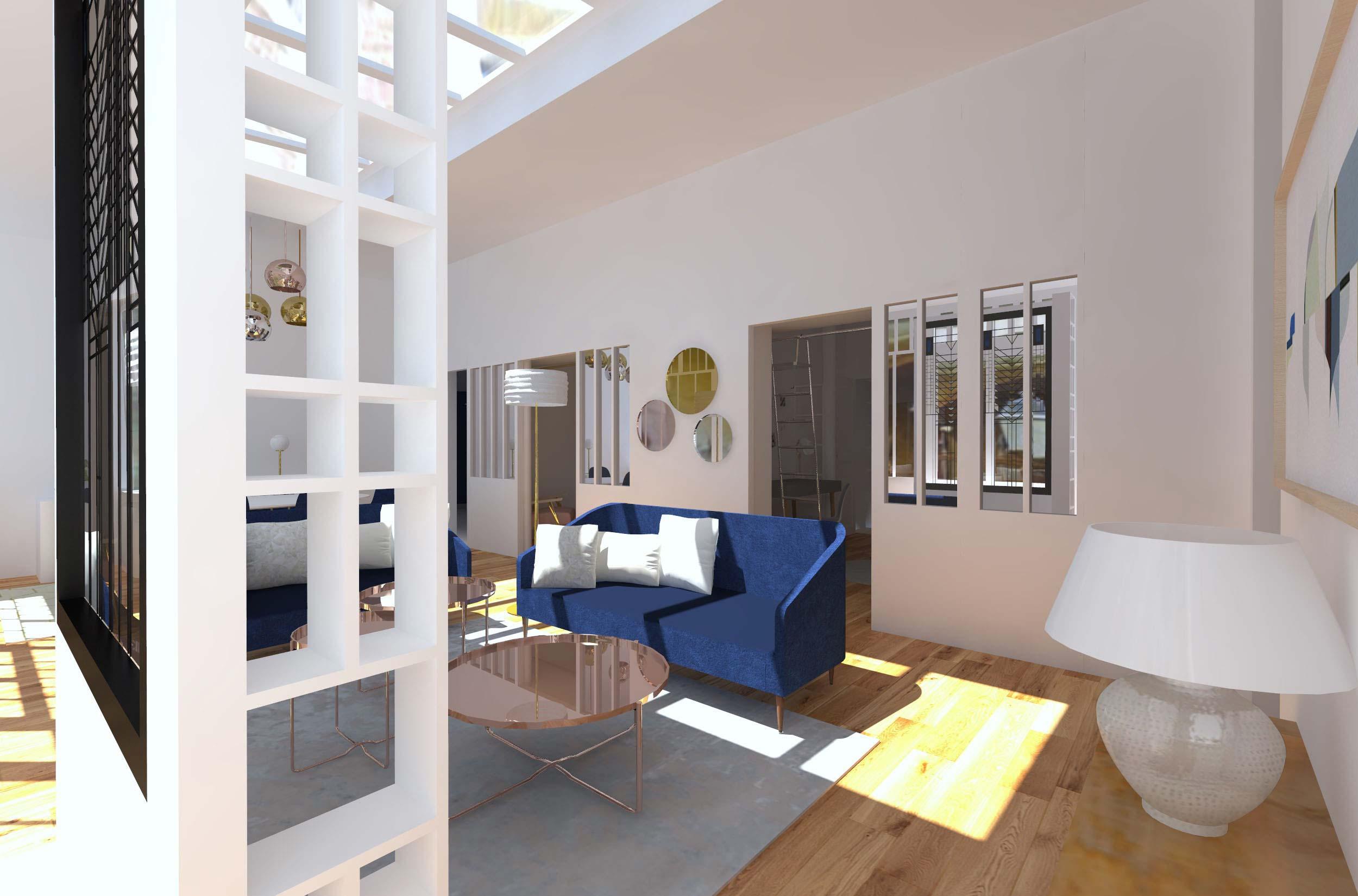 Rénovation d'un loft paris - séjour 1
